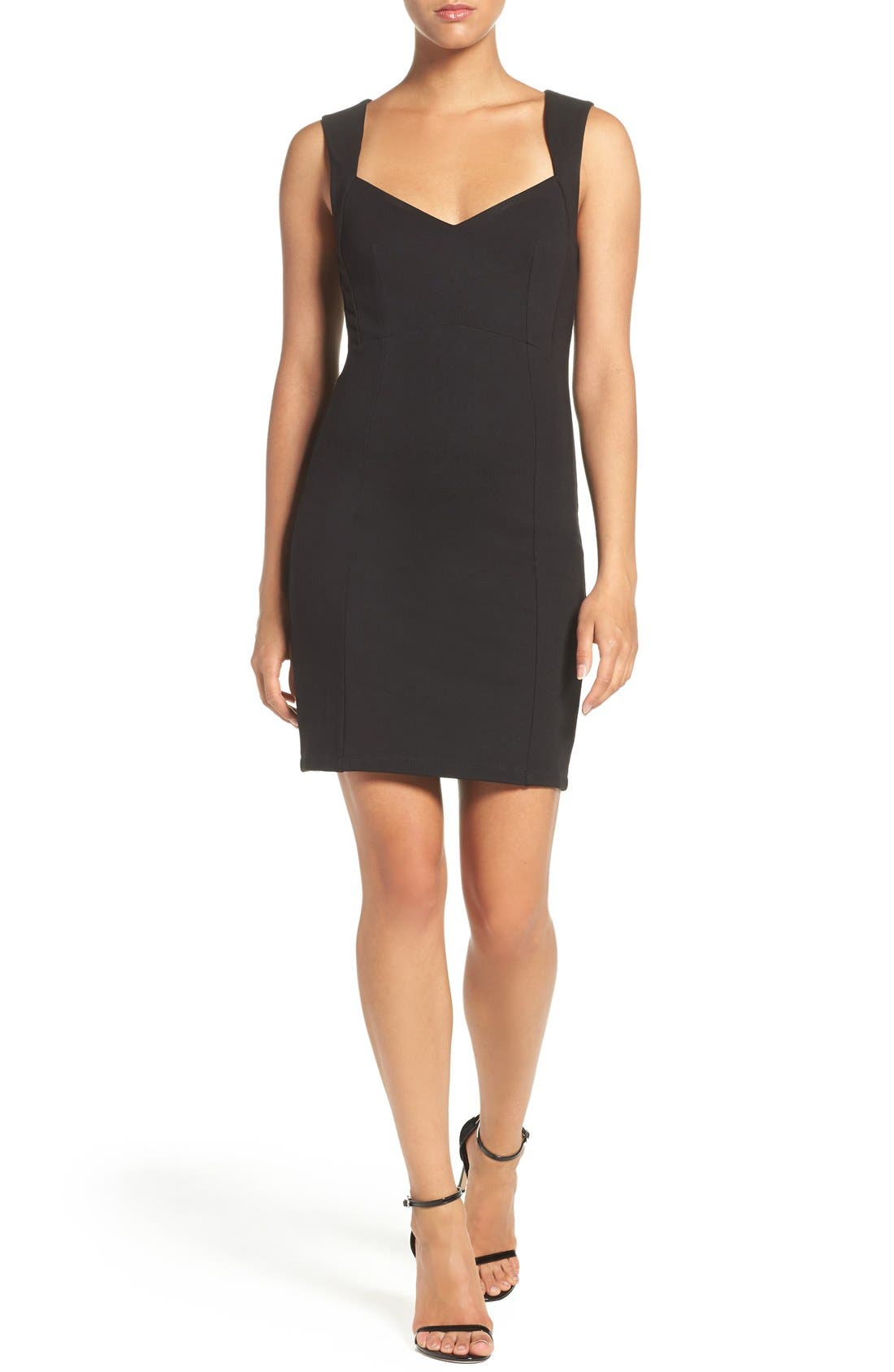 'Lula' Stretch Body-Con Dress,                             Alternate thumbnail 4, color,                             Black