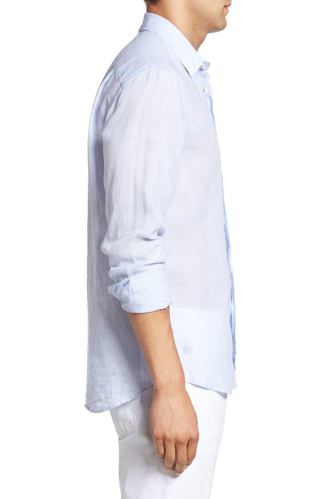 Regular Fit Linen Sport Shirt,                             Alternate thumbnail 3, color,                             Sky Blue