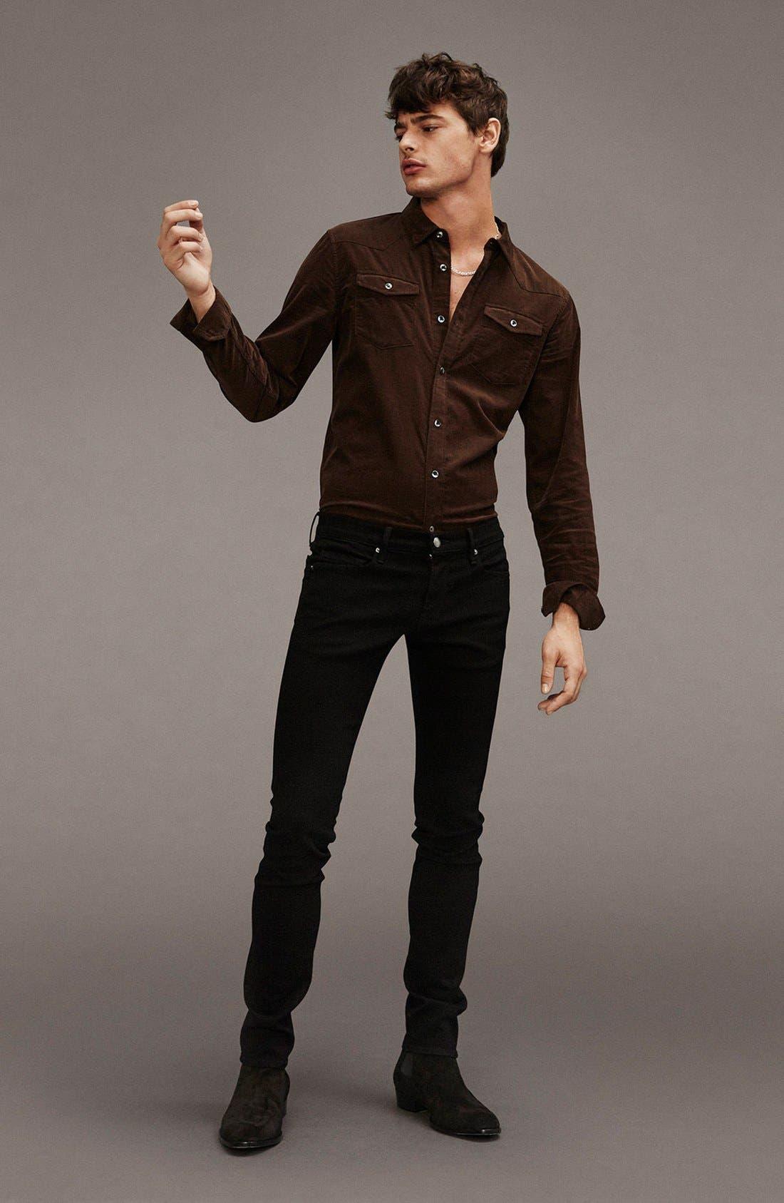 Alternate Image 5  - FRAME 'L'Homme' Skinny Fit Jeans (Noir)