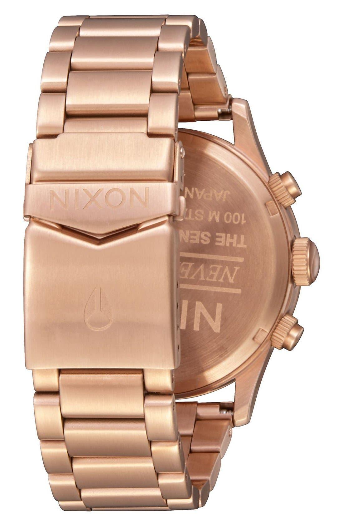 The Sentry Chronograph Bracelet Watch, 42mm,                             Alternate thumbnail 2, color,                             Rose Gold / Black