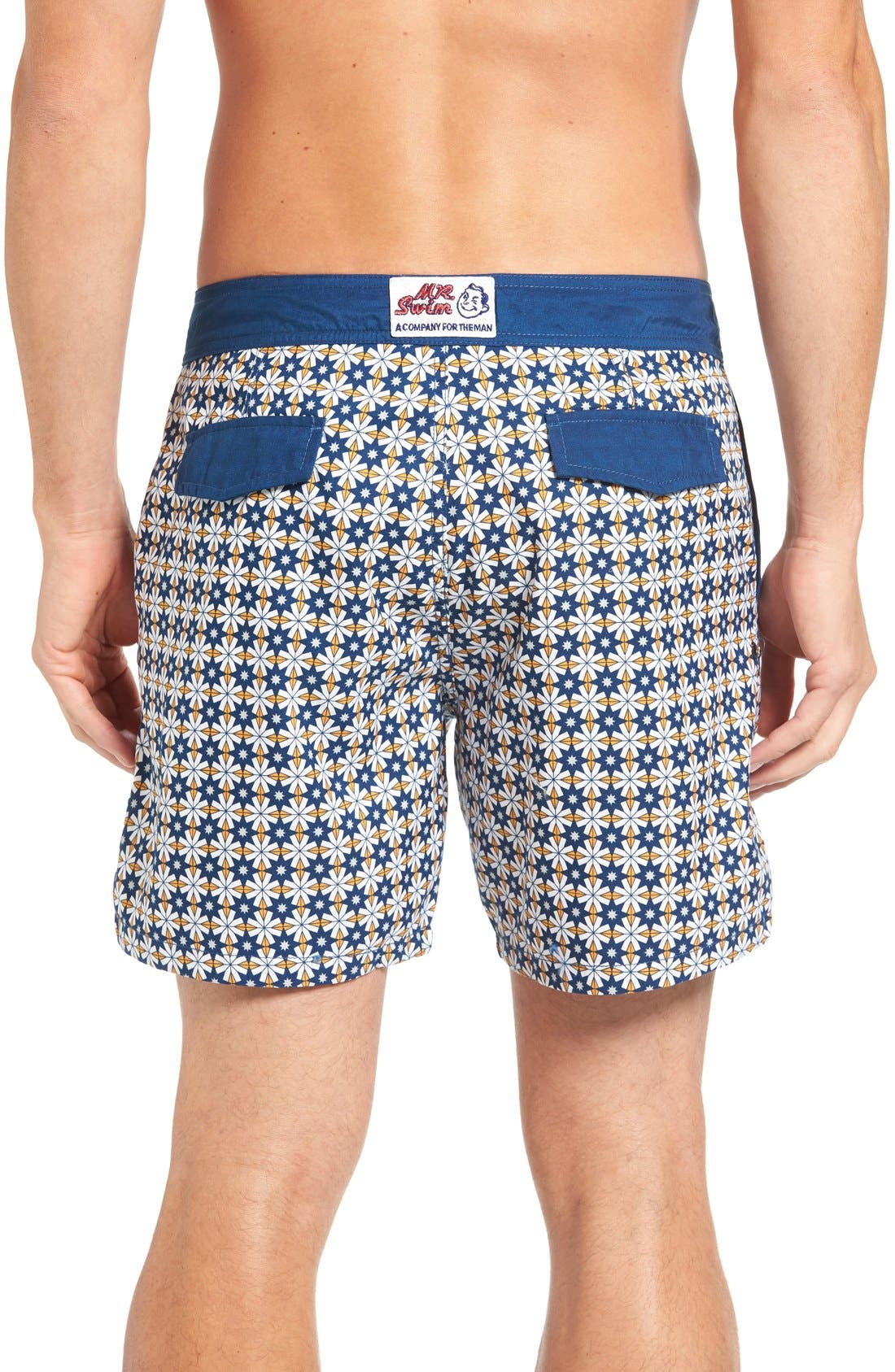 Star Tile Print Board Shorts,                             Alternate thumbnail 2, color,                             Orange