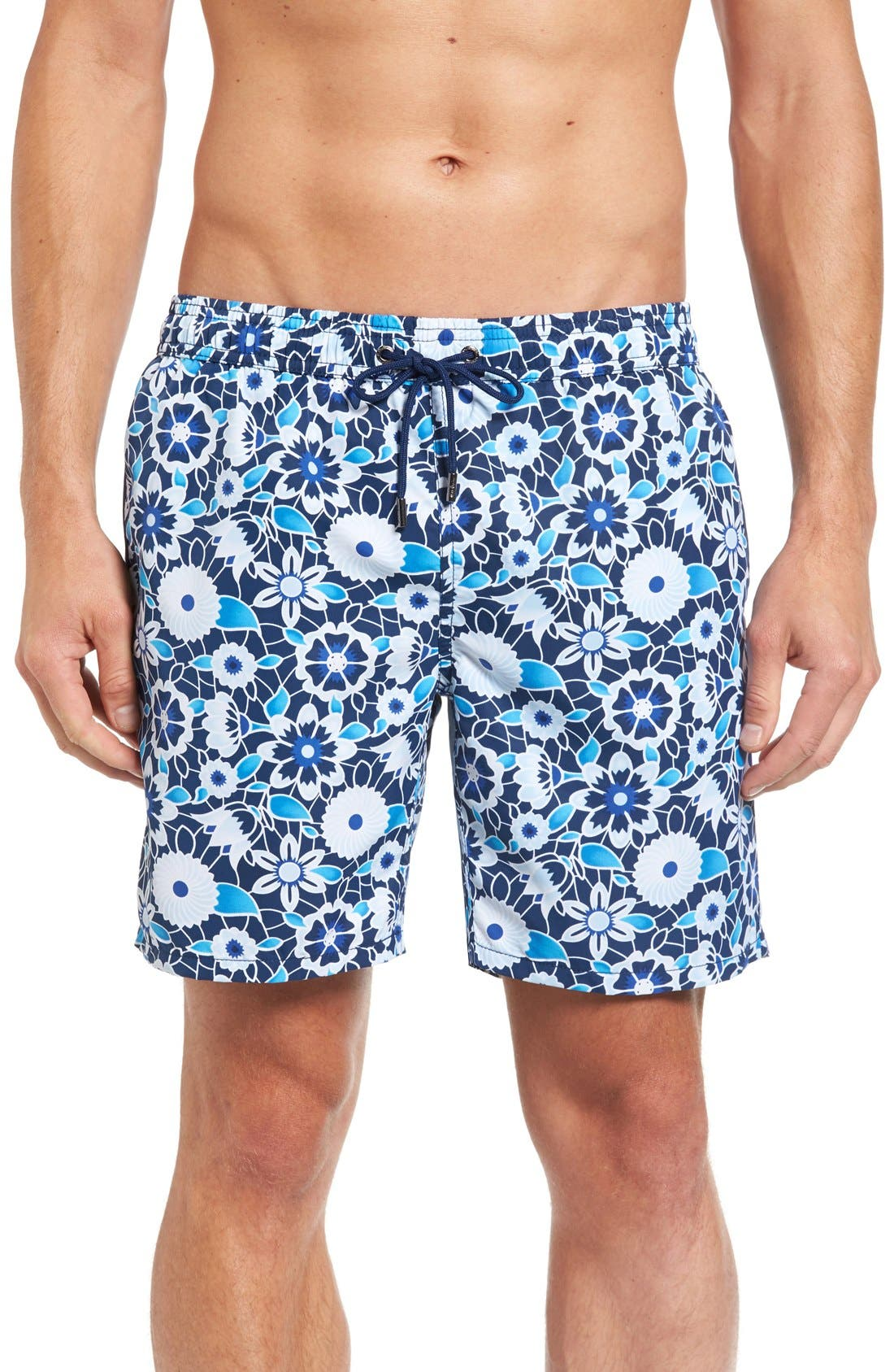 Floral Print Swim Trunks,                         Main,                         color, Blue