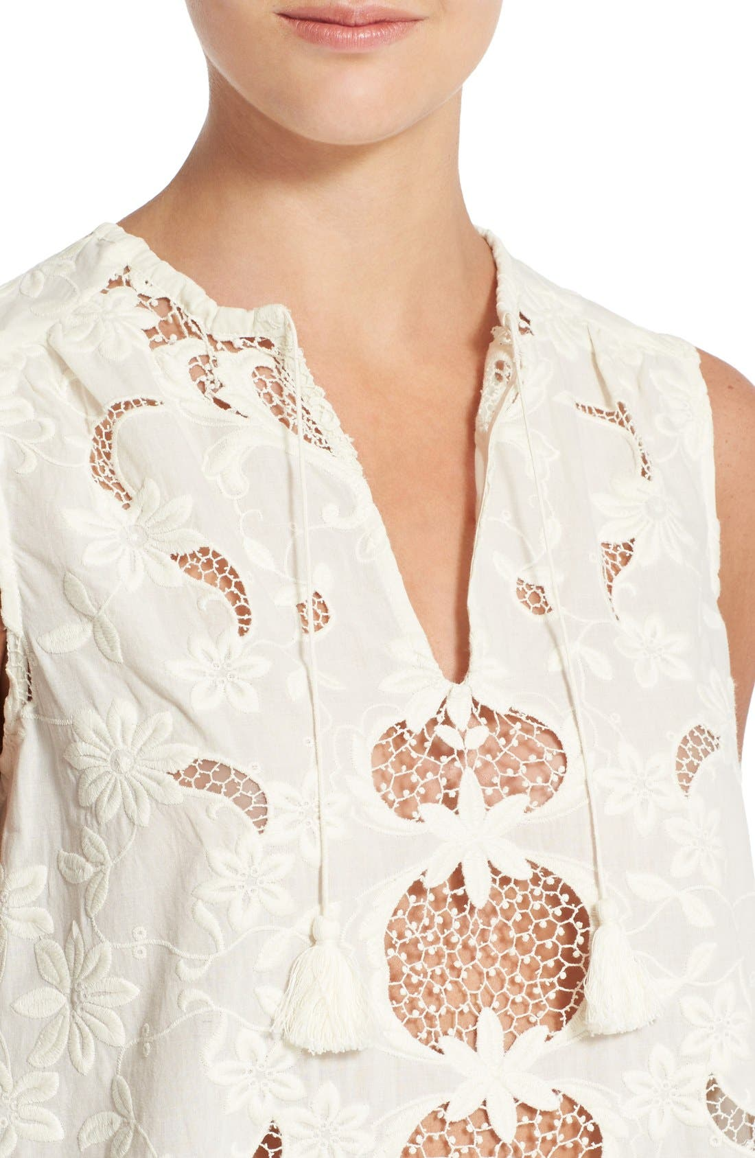 Alternate Image 4  - Sea Sleeveless Embroidered Top