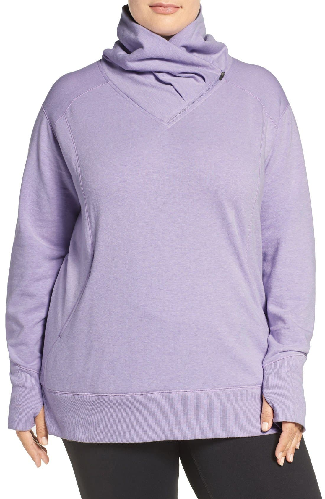 Alternate Image 1 Selected - Zella 'Frosty' Asymmetrical Zip Pullover (Plus Size)