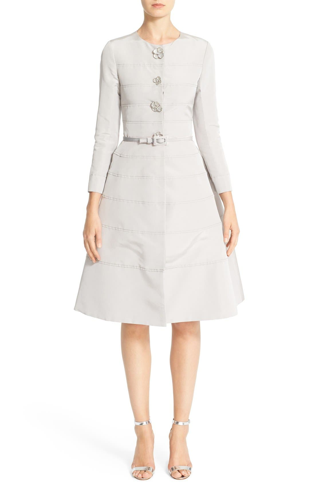 Main Image - Carolina Herrera Embellished Belted Silk Faille A-Line Dress