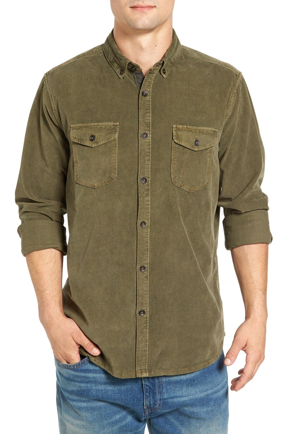 'Jaymes' Pigment Dyed Corduroy Shirt,                         Main,                         color, Forrester