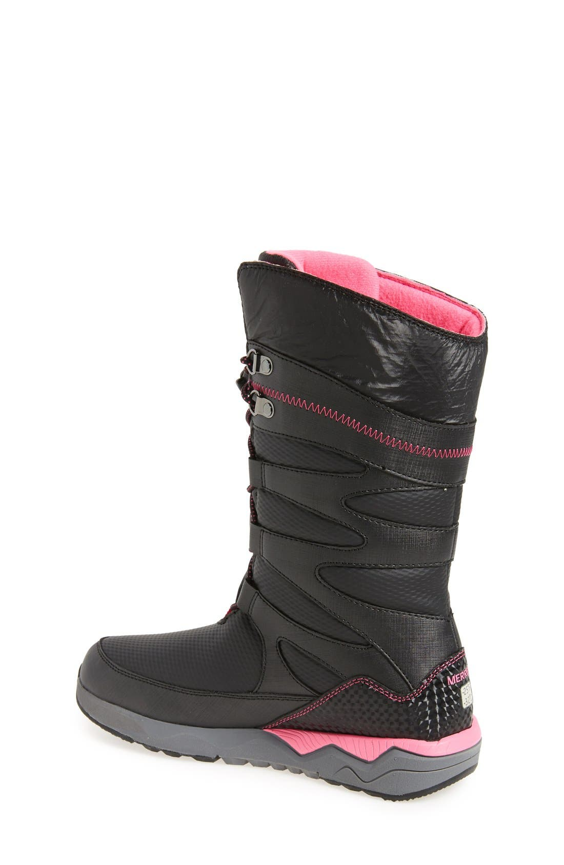 'Arctic Blast' Waterproof Snow Boot,                             Alternate thumbnail 2, color,                             Black/ Pink