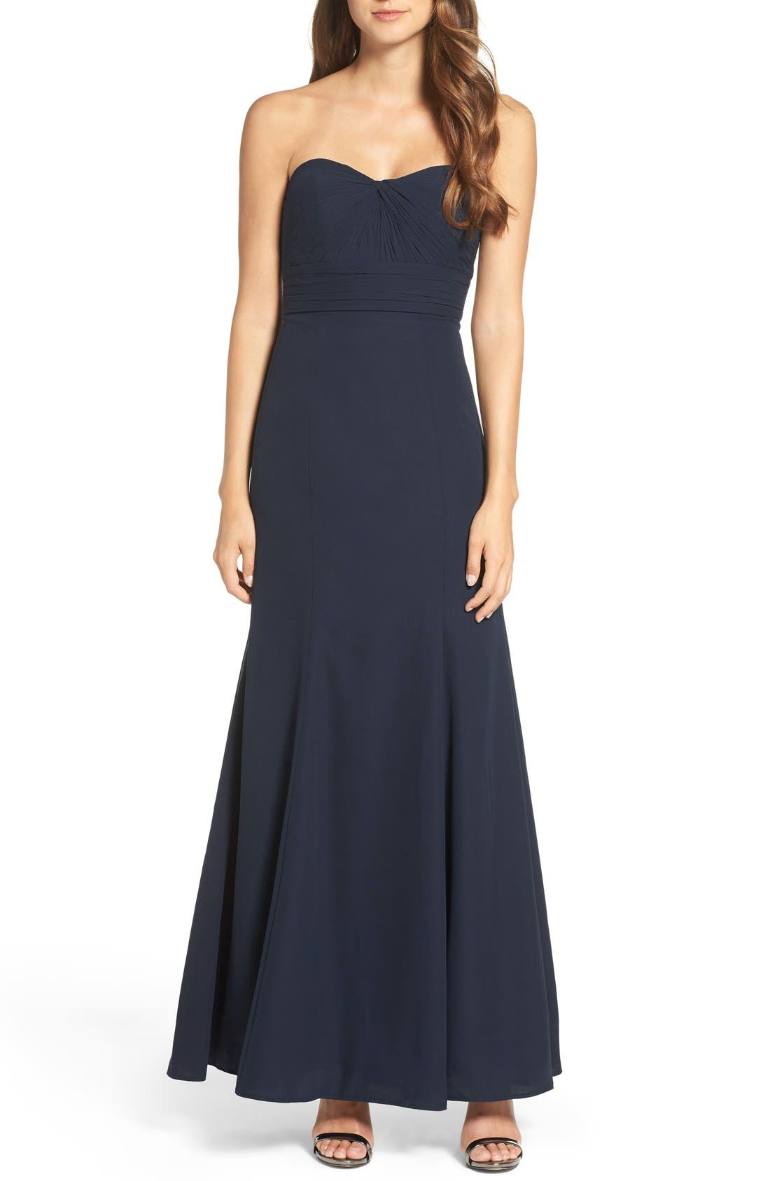 Strapless Chiffon Gown,                         Main,                         color, Navy