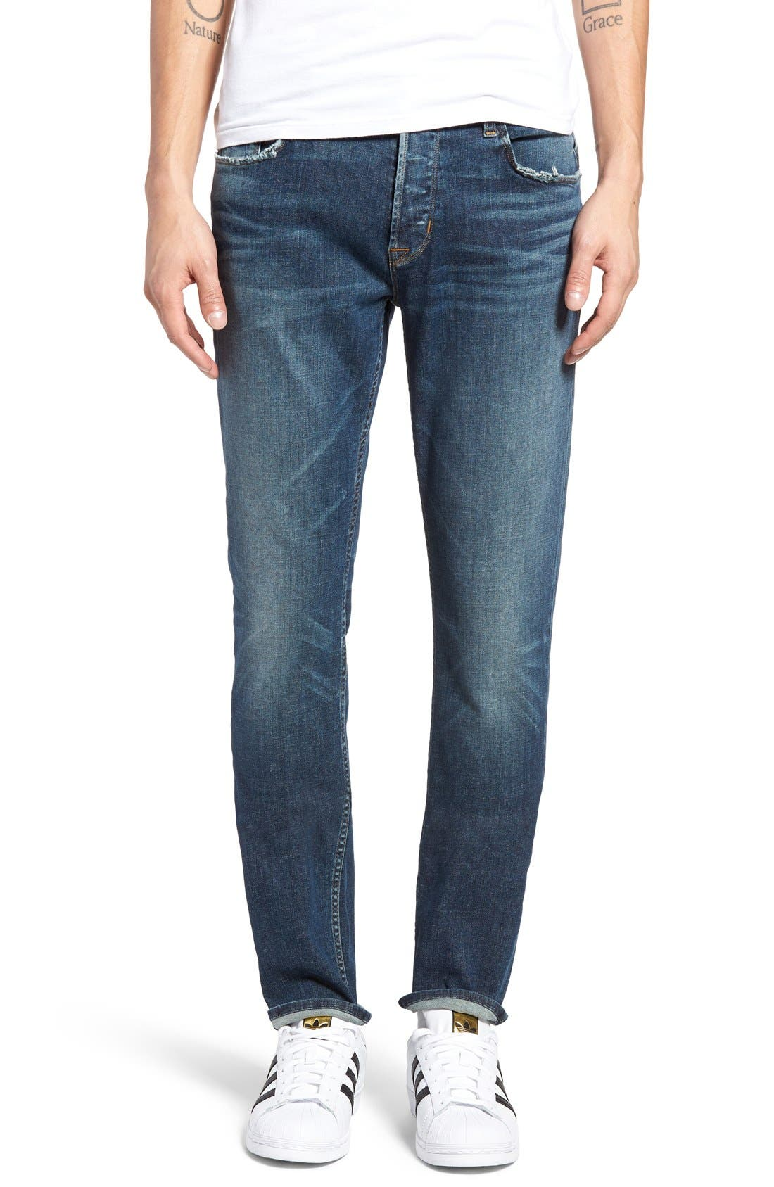 Sartor Slouchy Skinny Fit Jeans,                             Main thumbnail 1, color,                             Deserter