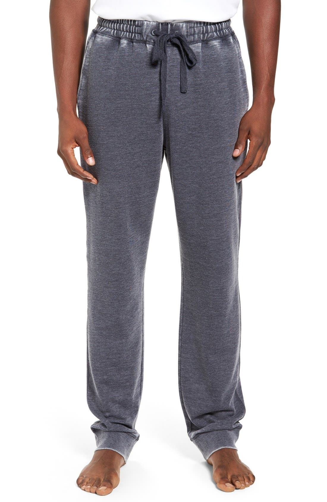 Washed Cotton Blend Terry Lounge Pants,                         Main,                         color, Ink