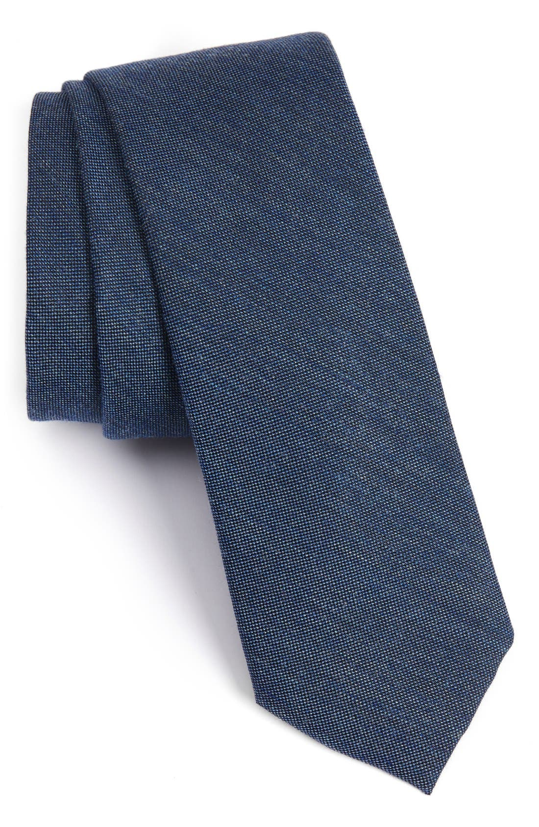 Mélange Woven Skinny Tie,                             Main thumbnail 1, color,                             Blue