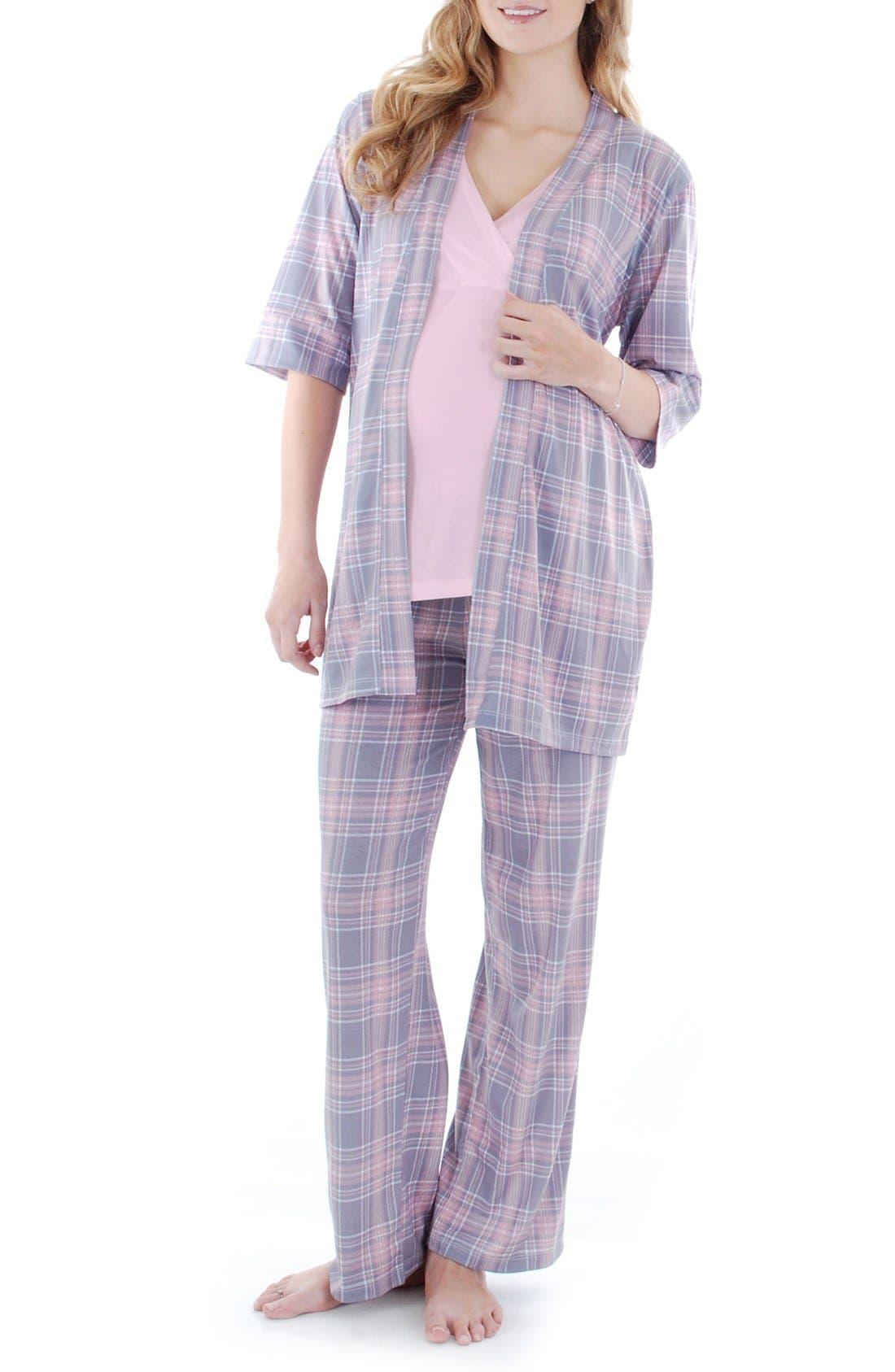 Susan 5-Piece Maternity/Nursing Pajama Set,                             Main thumbnail 1, color,                             Pink Plaid