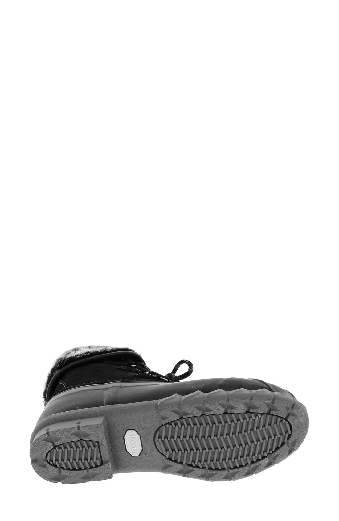 Defrost Faux Fur Lined Duck Boot,                             Alternate thumbnail 4, color,                             Black/ Black