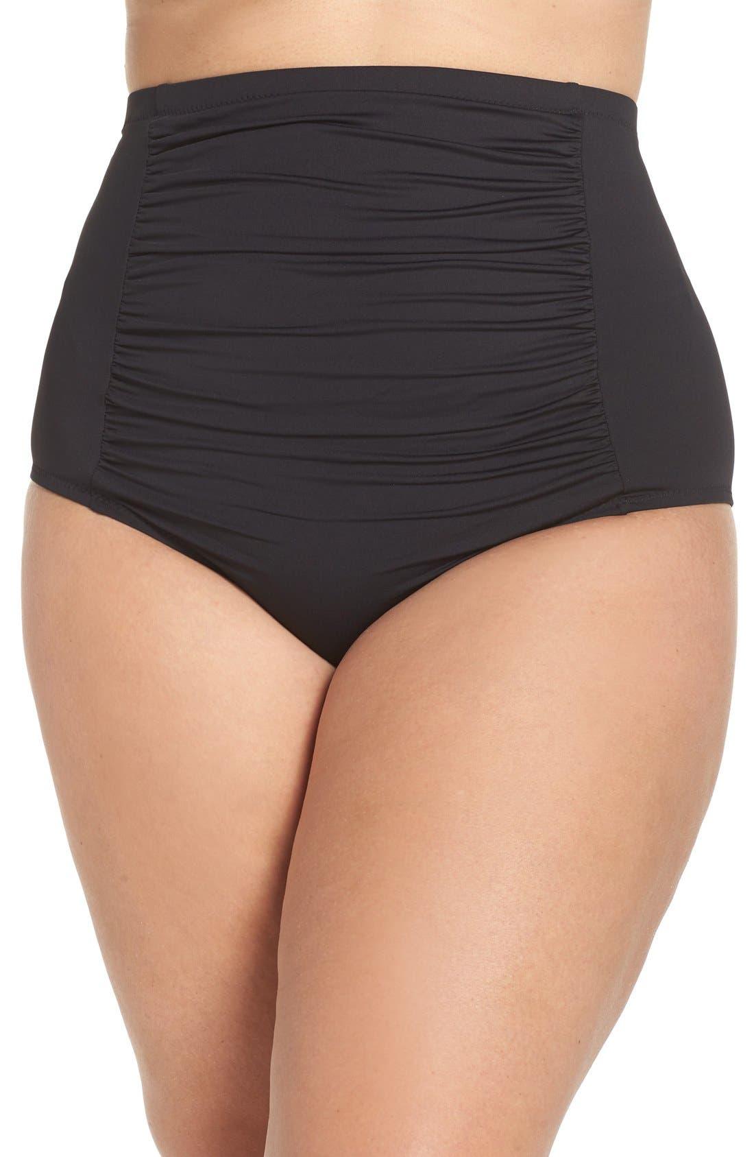 Alternate Image 1 Selected - Becca Etc. Color Code High Waist Bikini Bottoms (Plus Size)