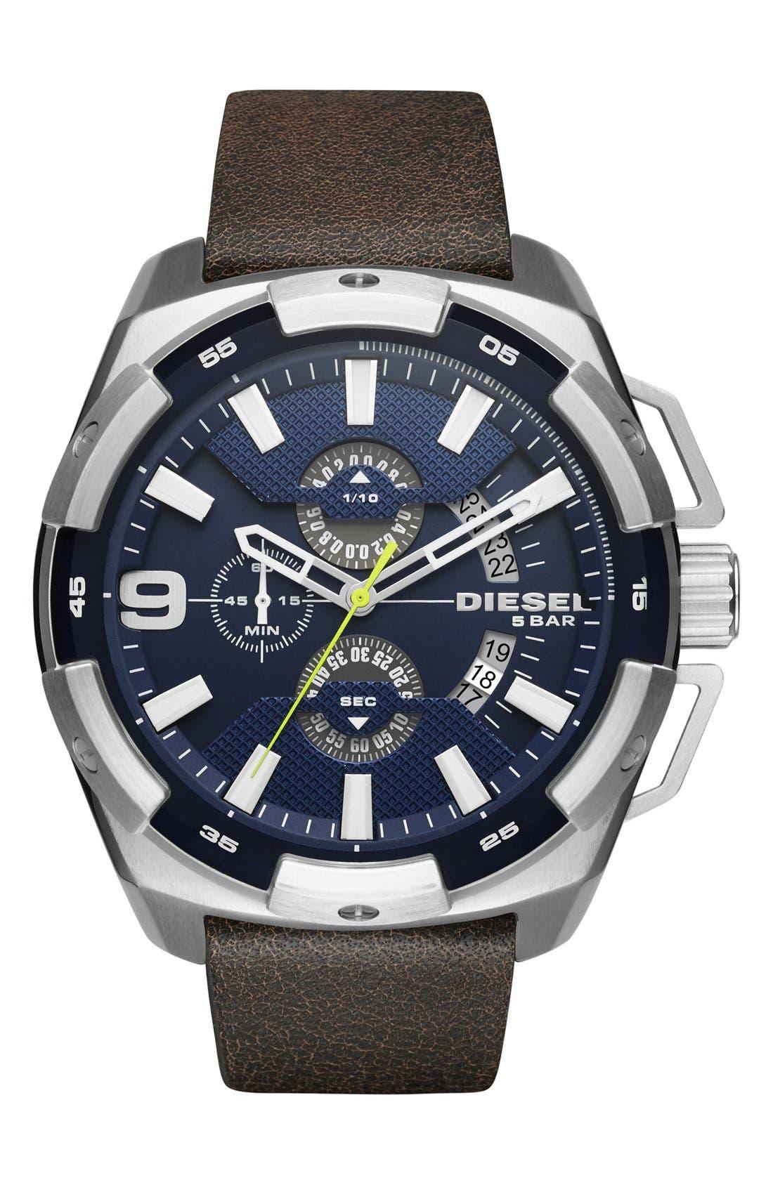 DIESEL® Heavyweight Chronograph Leather Strap Watch, 50mm
