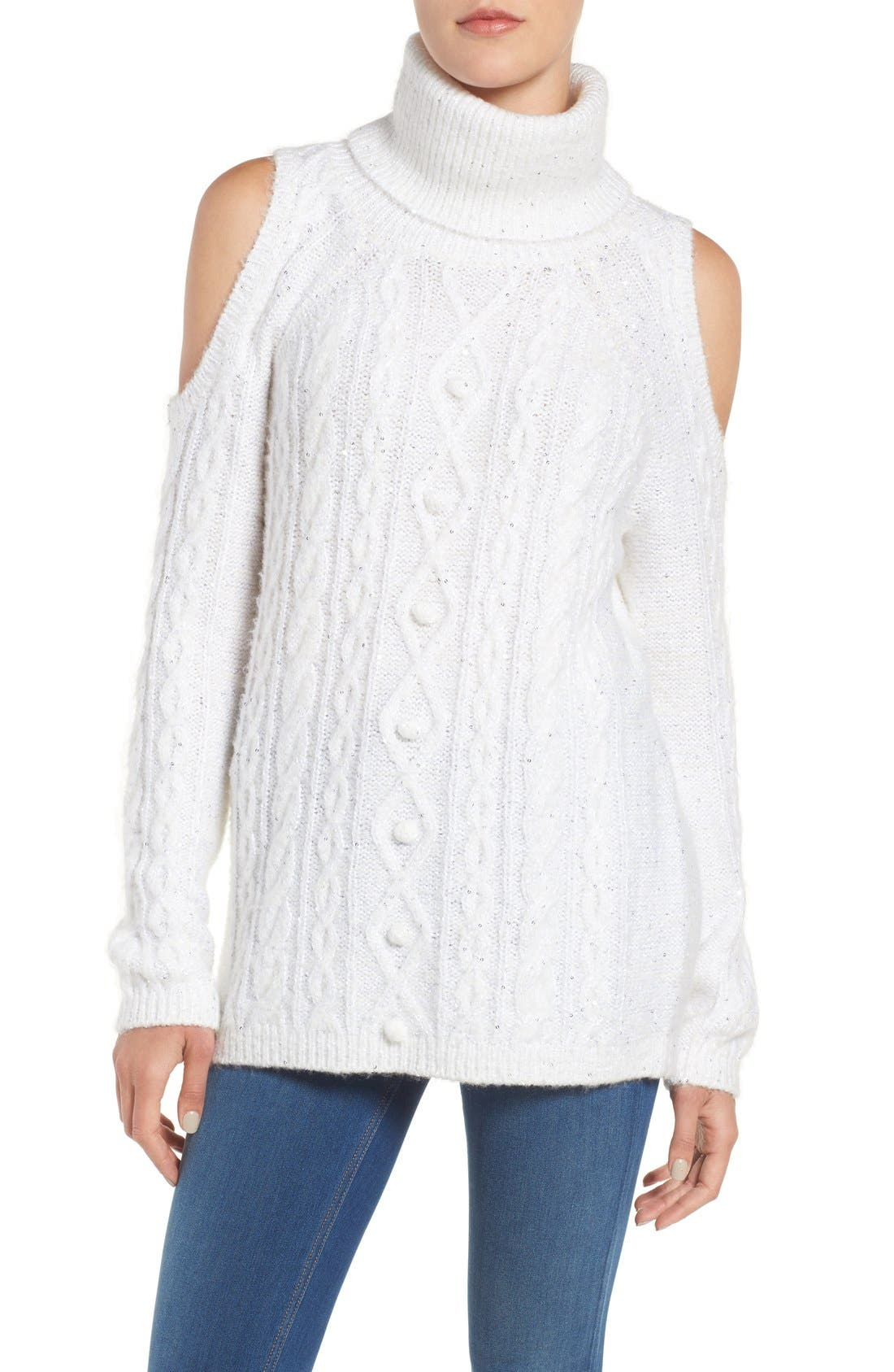 Main Image - Chelsea28 Sequin Cold Shoulder Sweater