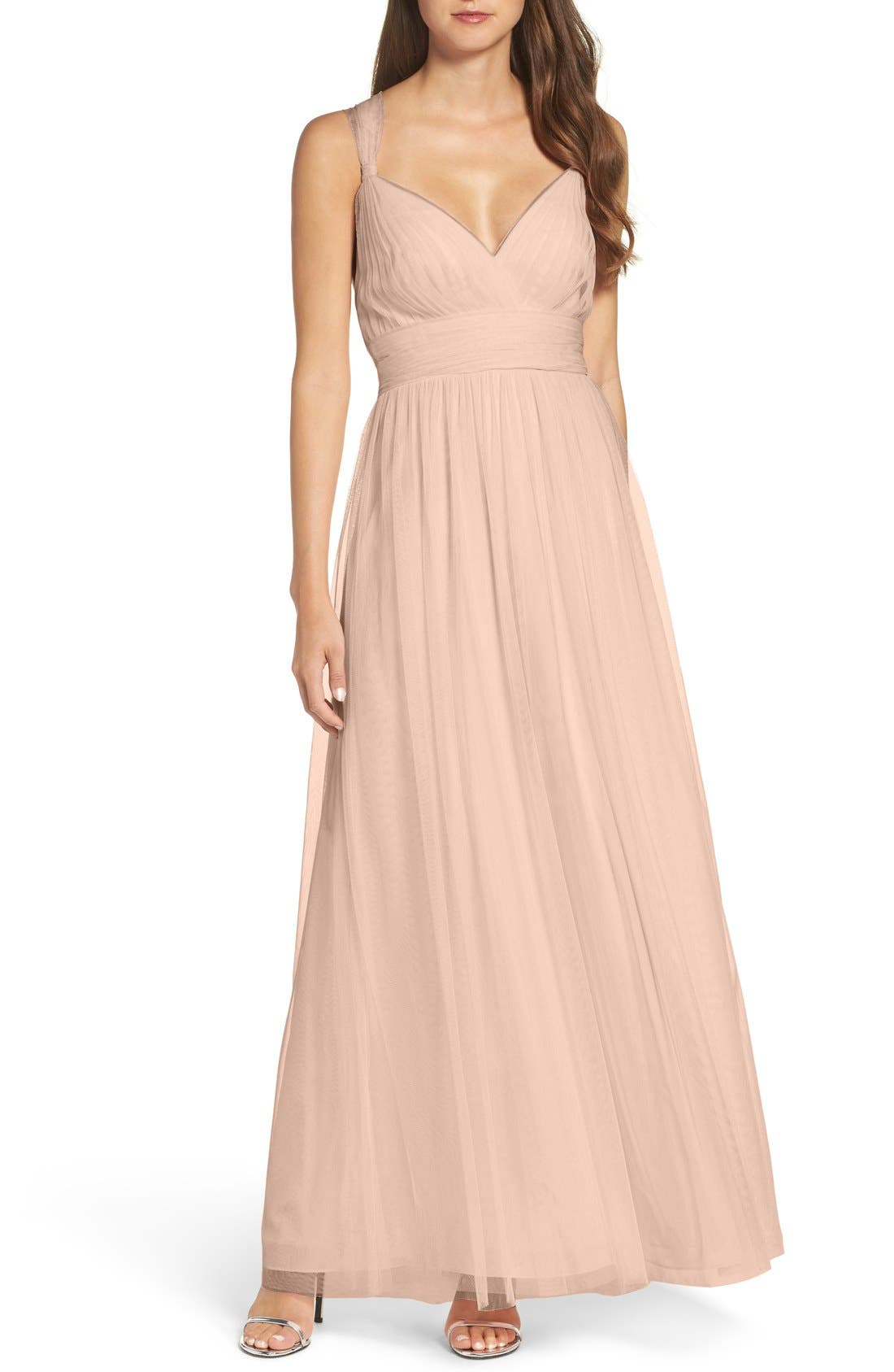 Deep V-Neck Chiffon & Tulle Gown,                         Main,                         color, Latte