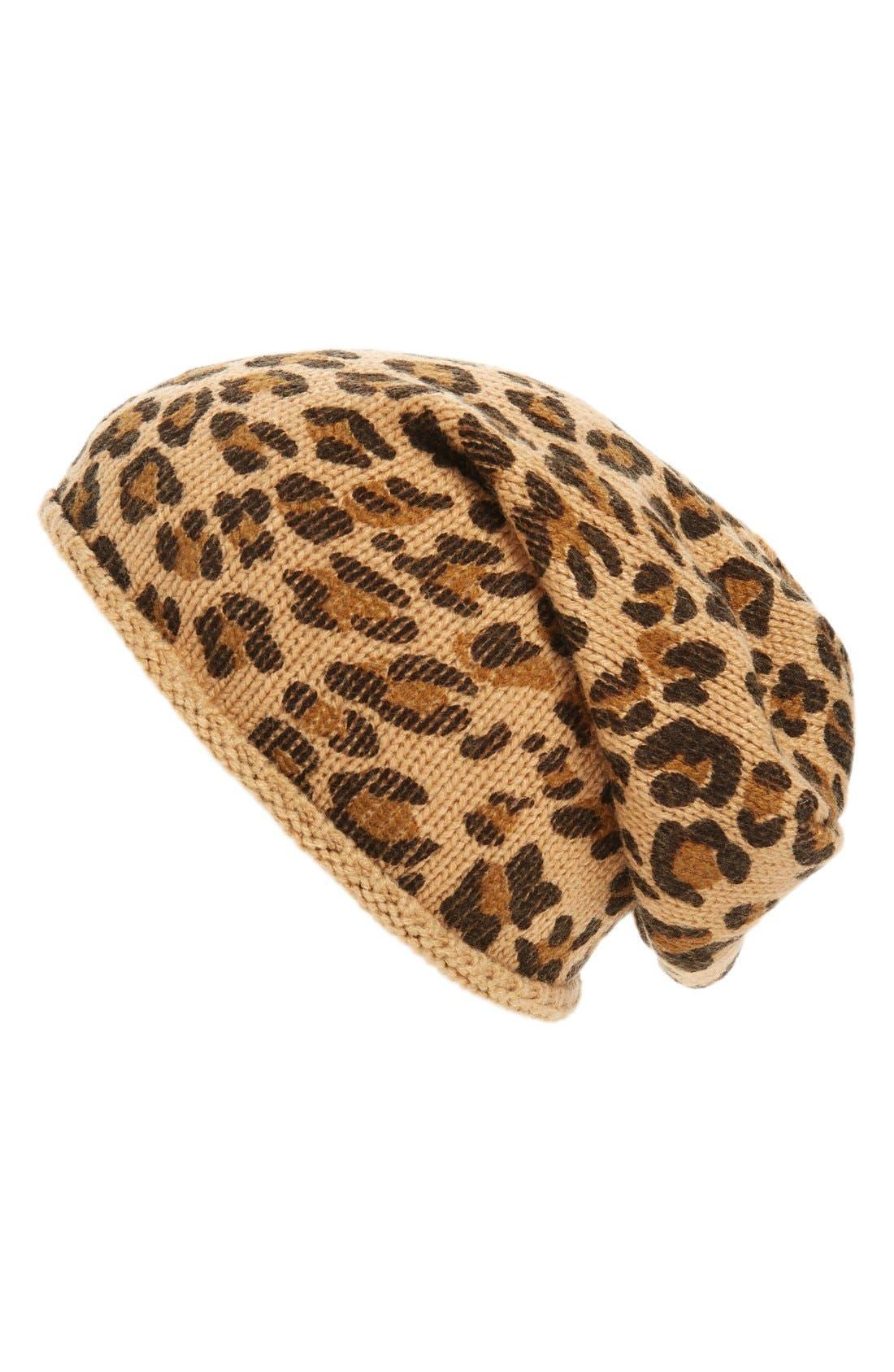Leopard Print Slouchy Beanie,                         Main,                         color, Camel