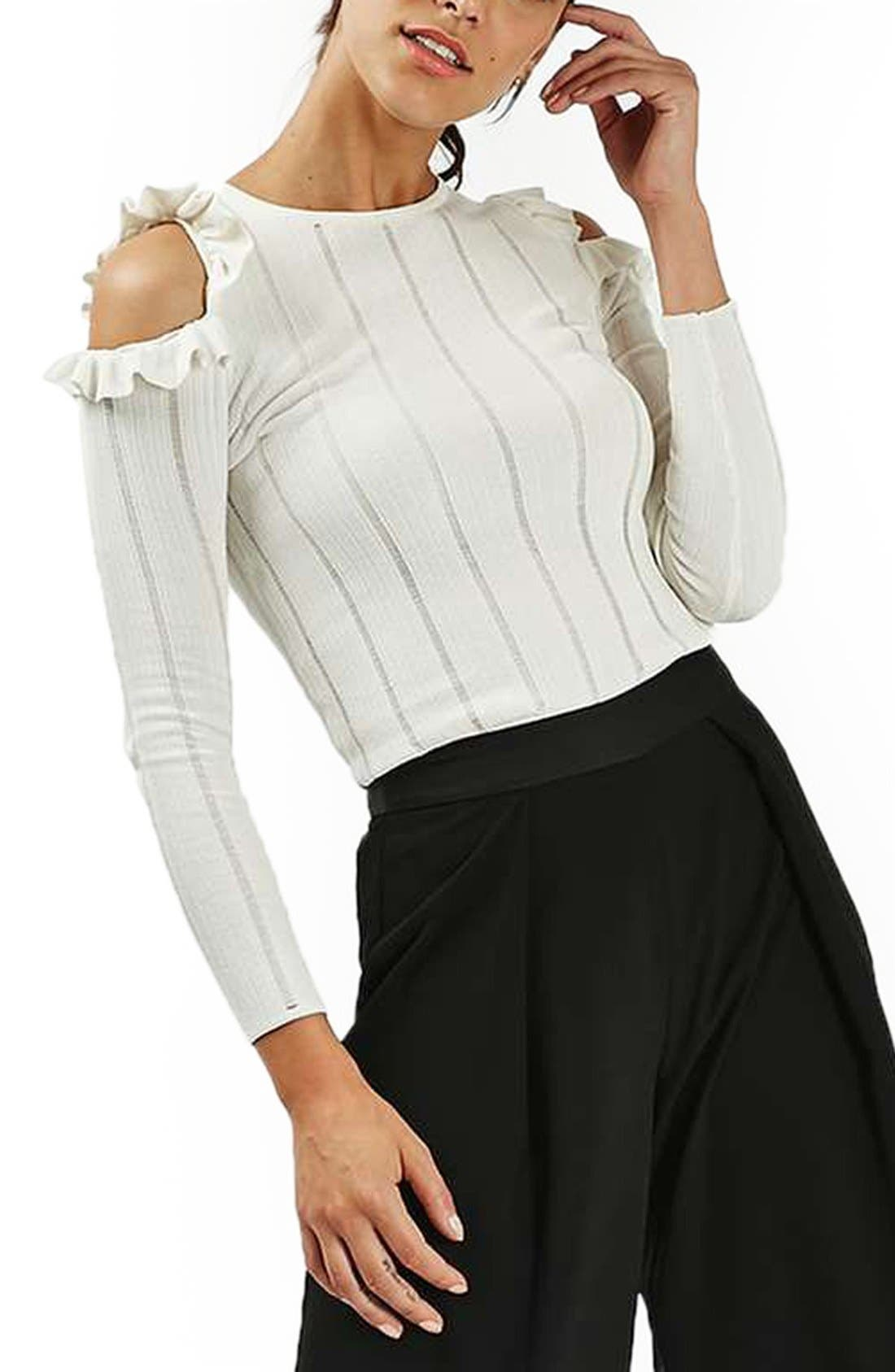 Main Image - Topshop Ruffle Cold Shoulder Sweater