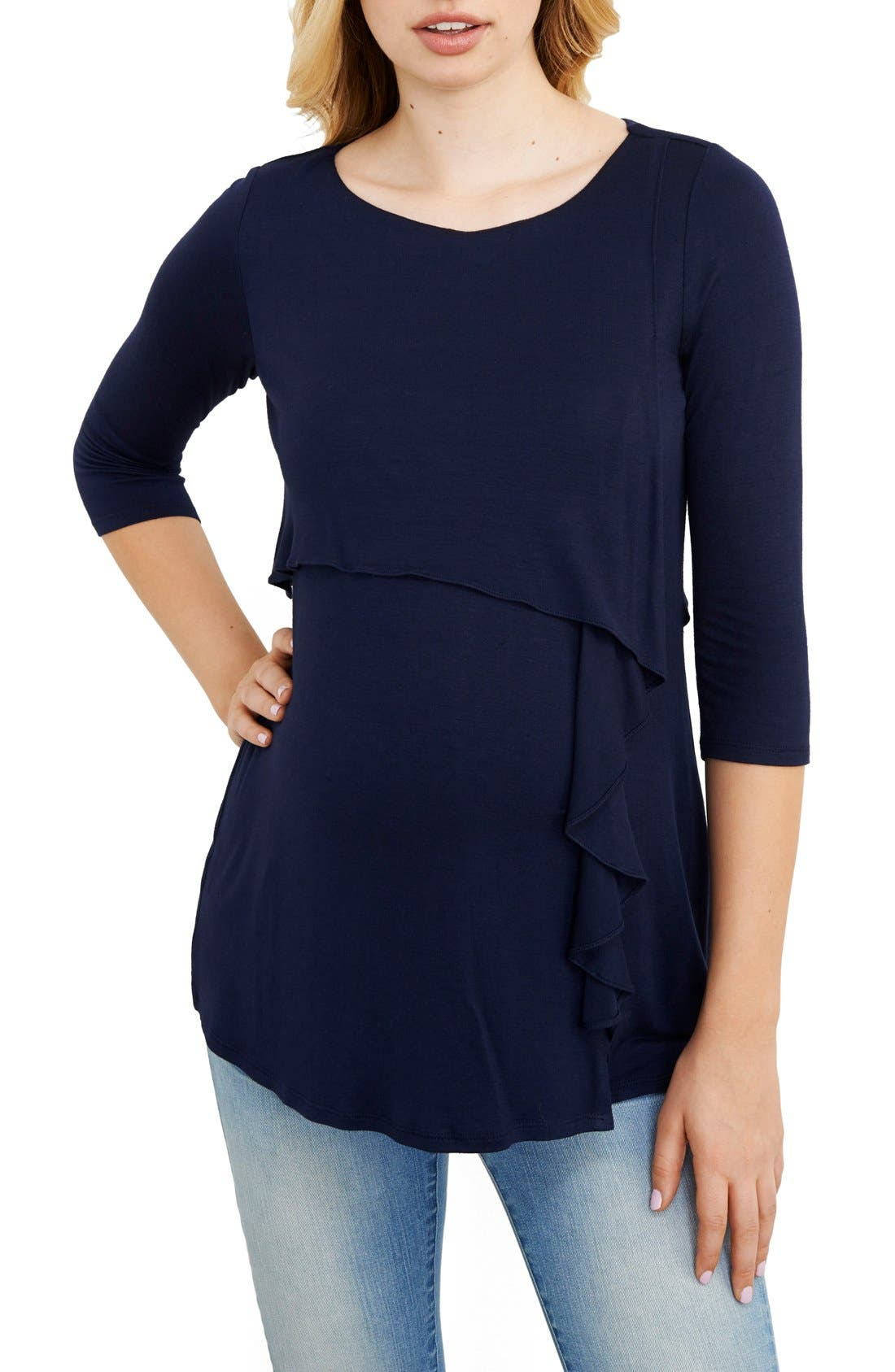 Main Image - Maternal America Cascade Ruffle Front Maternity/Nursing Top