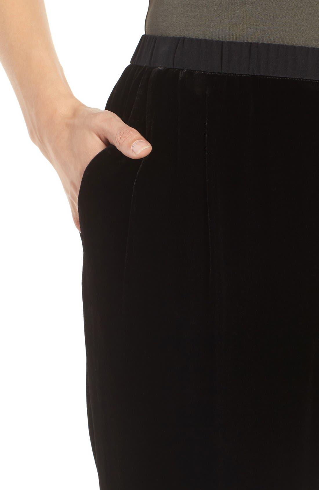 Velvet Ankle Pants,                             Alternate thumbnail 4, color,                             Black