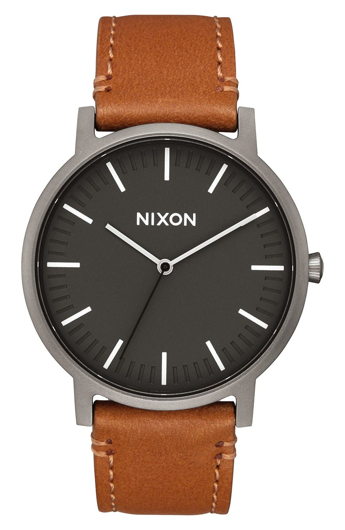 The Porter Leather Strap Watch, 40mm,                         Main,                         color, Gunmetal/ Charcoal/ Taupe