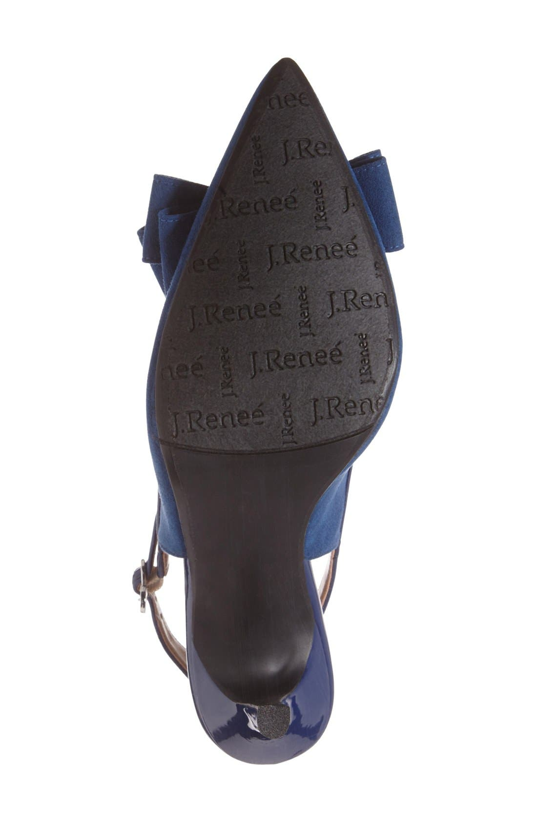 Charis Slingback Bow Pump,                             Alternate thumbnail 4, color,                             Imperial Blue Faux Suede