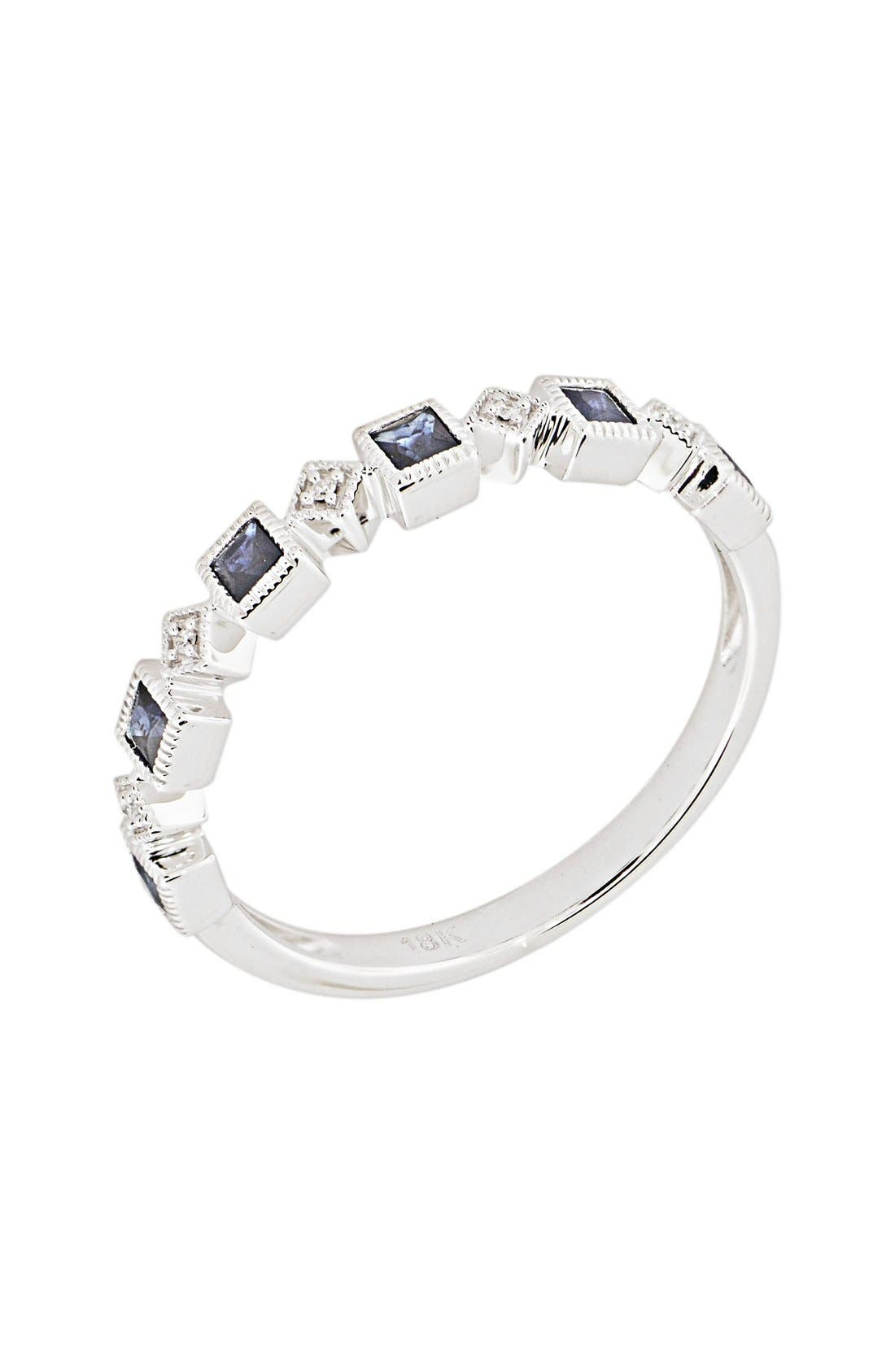Stackable Diamond & Sapphire Band Ring,                             Main thumbnail 1, color,                             White Gold/ Blue Sapphire