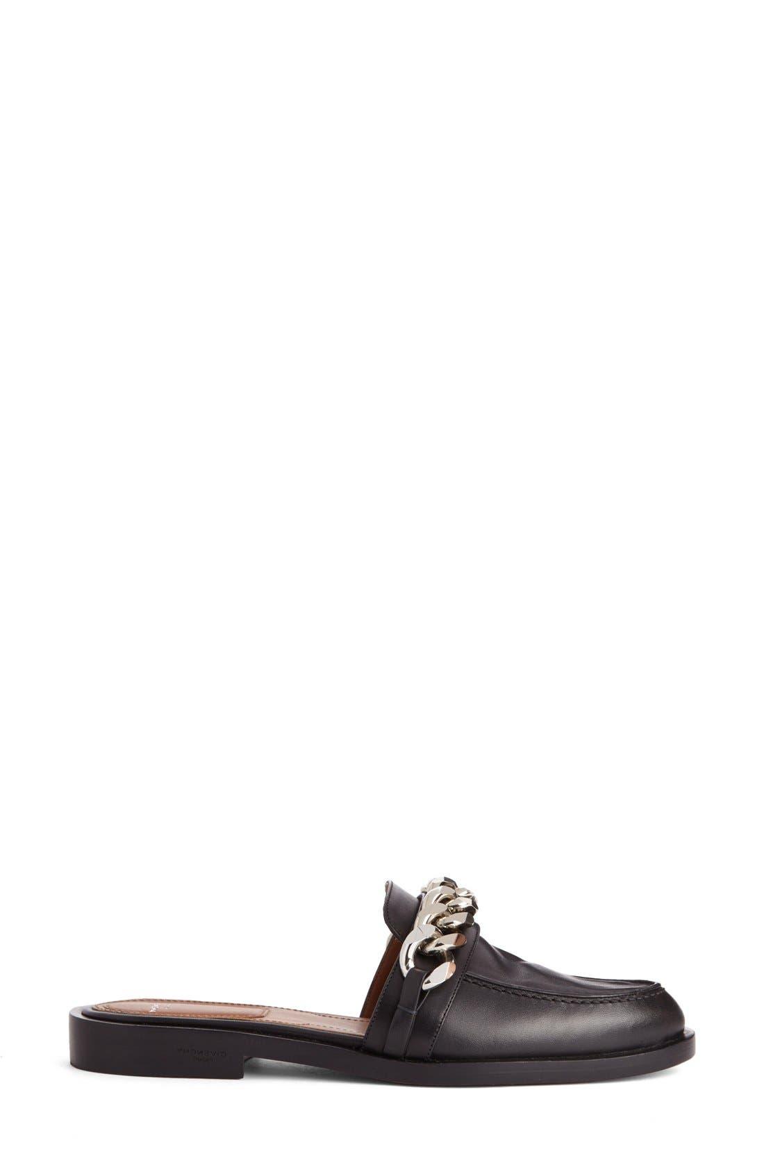 Chain Strap Loafer Mule,                             Alternate thumbnail 4, color,                             Black
