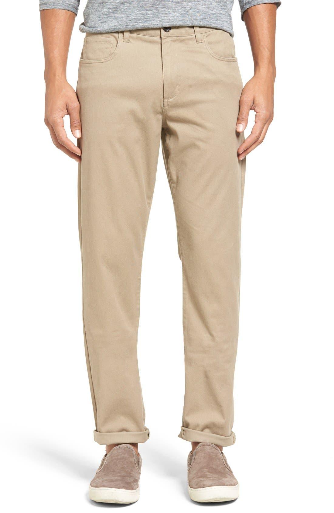 Soho Slim Fit Five-Pocket Pants,                             Main thumbnail 1, color,                             Khaki