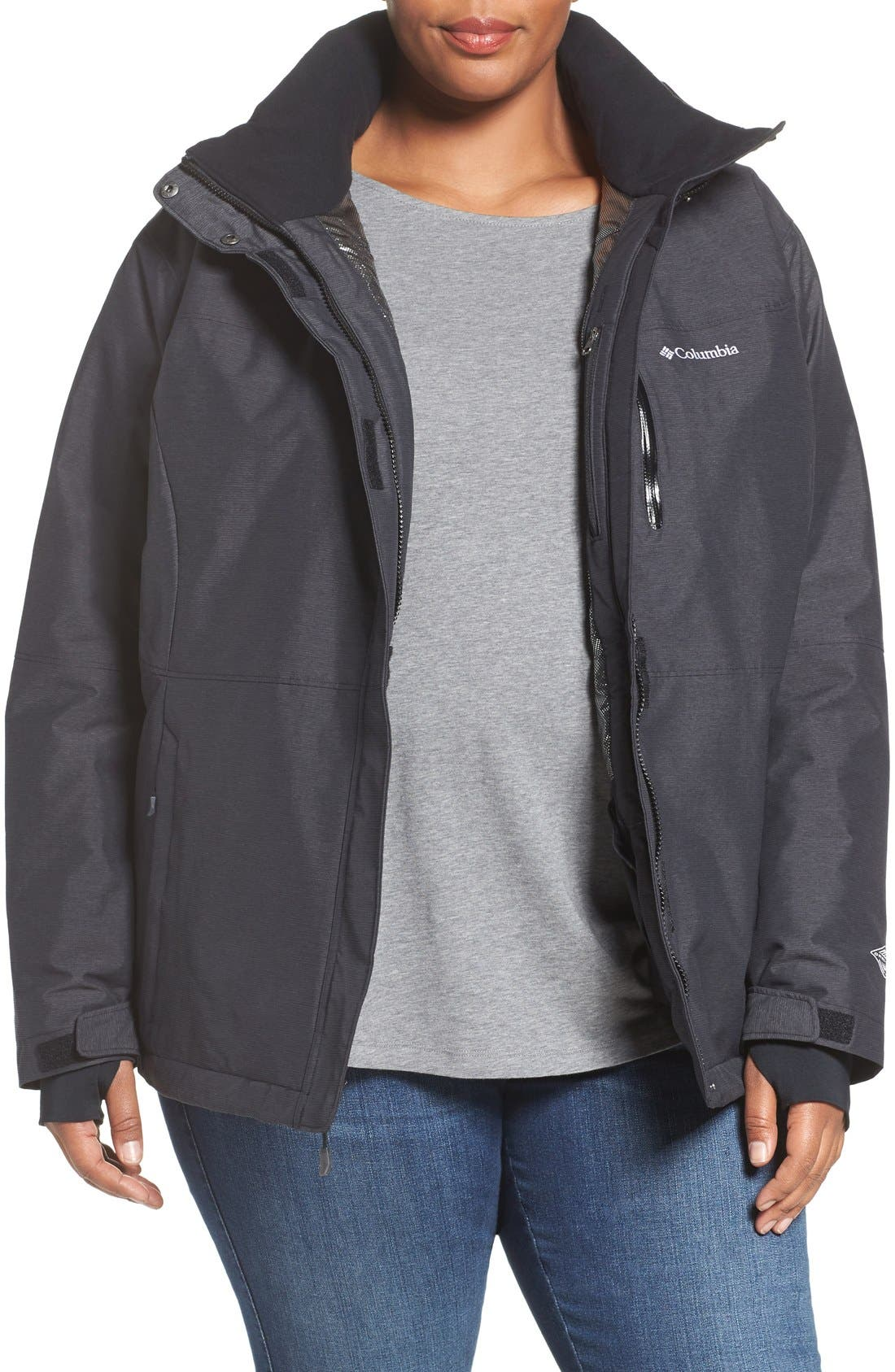 Alpine Action Waterproof Omni-Heat<sup>®</sup> Hooded Jacket,                             Main thumbnail 1, color,                             Black