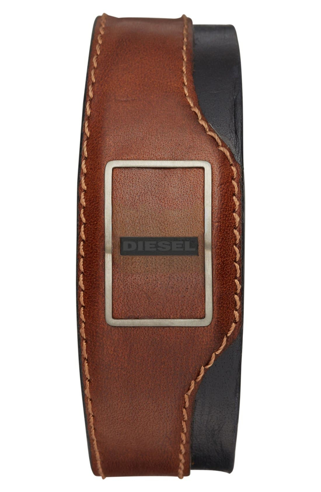 Leather Cuff Activity Tracker,                             Main thumbnail 1, color,                             Brown