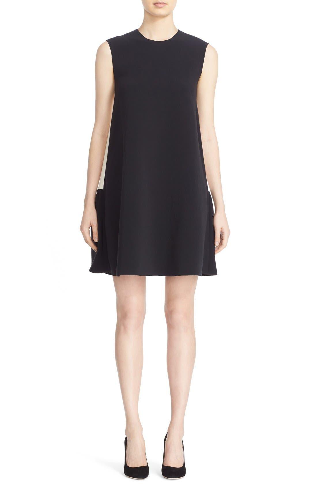Fuji Colorblock Ruffle Hem Trapeze Dress,                             Main thumbnail 1, color,                             Black/ White