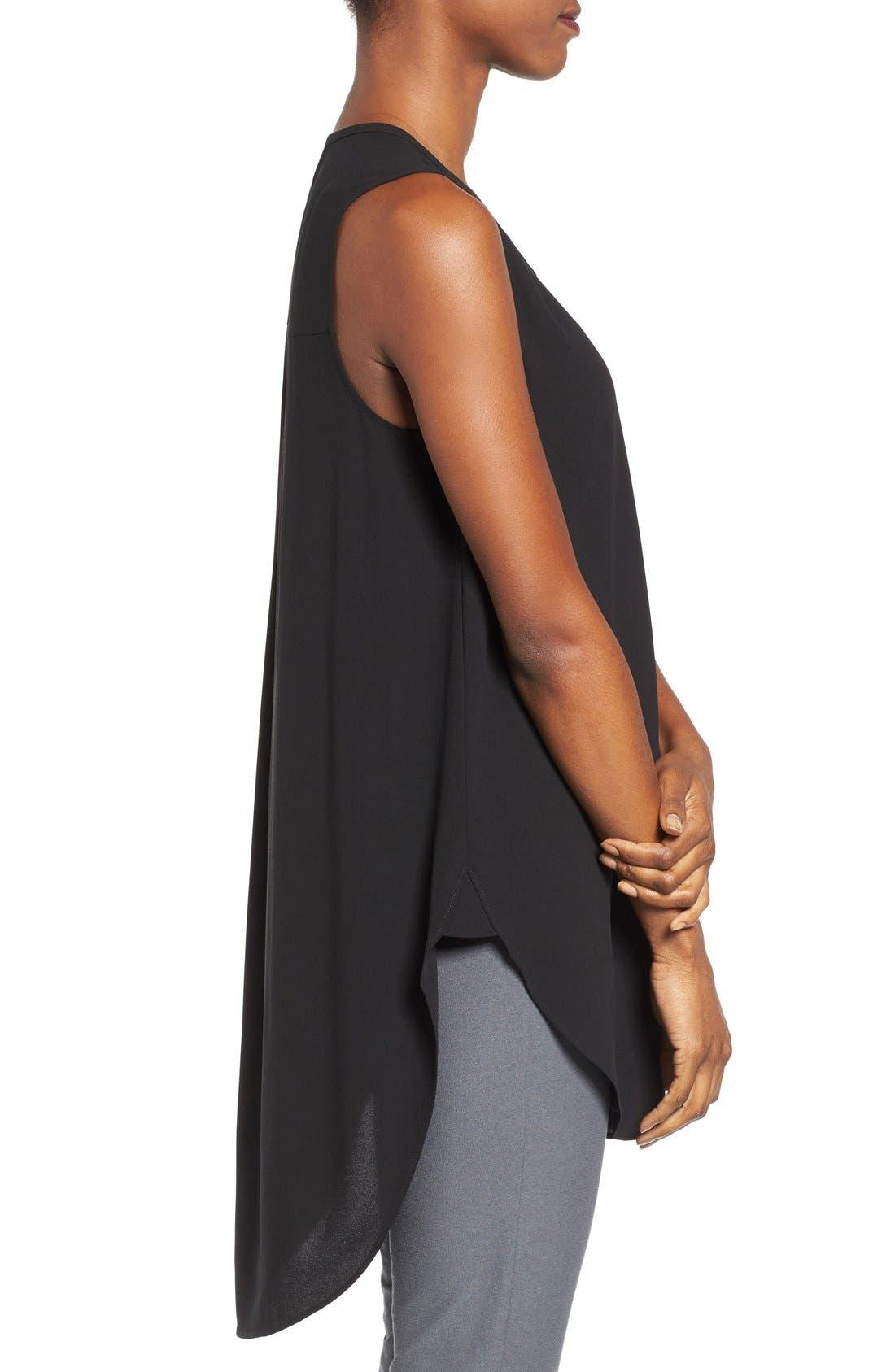 Alternate Image 3  - Eileen Fisher Silk Georgette Crepe Asymmetrical V-Neck Top (Regular & Petite)