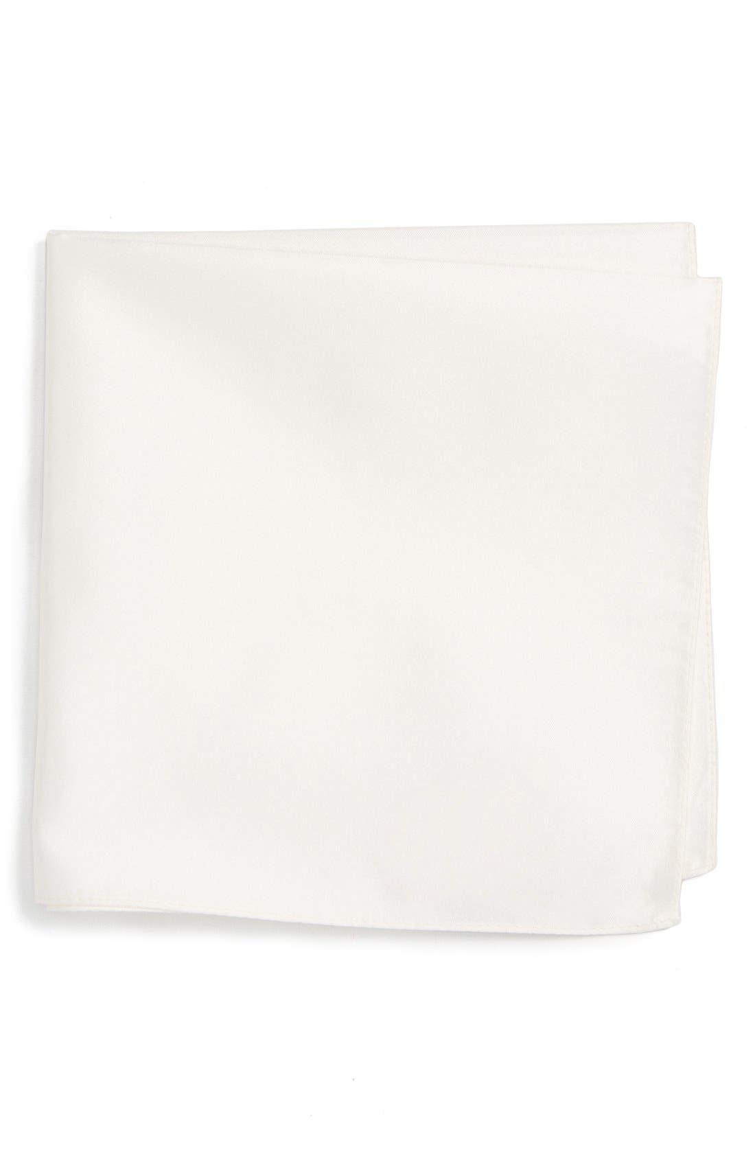 Solid Silk Pocket Square,                         Main,                         color, White