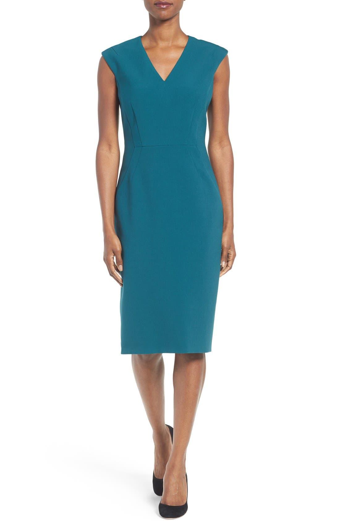 Alternate Image 1 Selected - BOSS Dalana V-Neck Ponte Sheath Dress