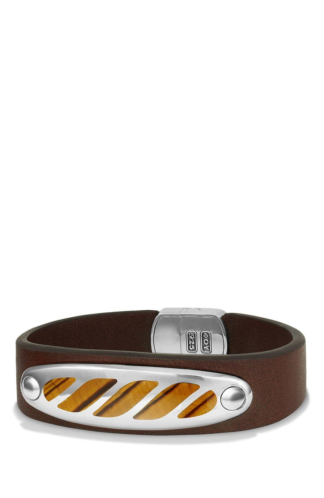 Graphic Cable Leather ID Bracelet,                         Main,                         color, Silver