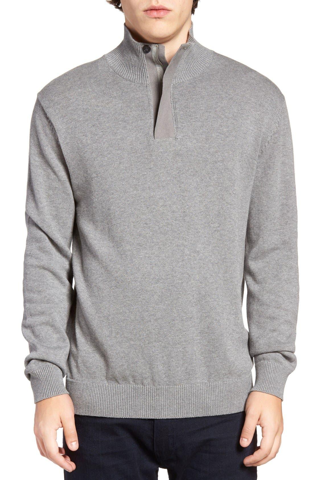 Quarter Zip Sweater,                         Main,                         color, Mid Grey Melange