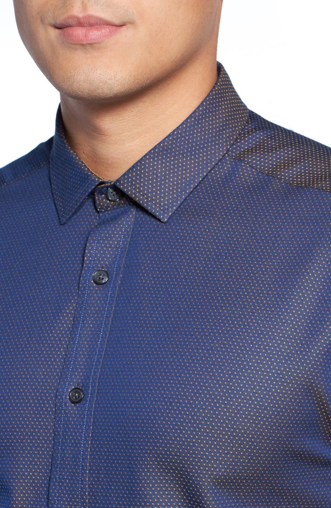 Slim Fit Print Sport Shirt,                             Alternate thumbnail 4, color,                             Navy/ Gold Pindot Dobby