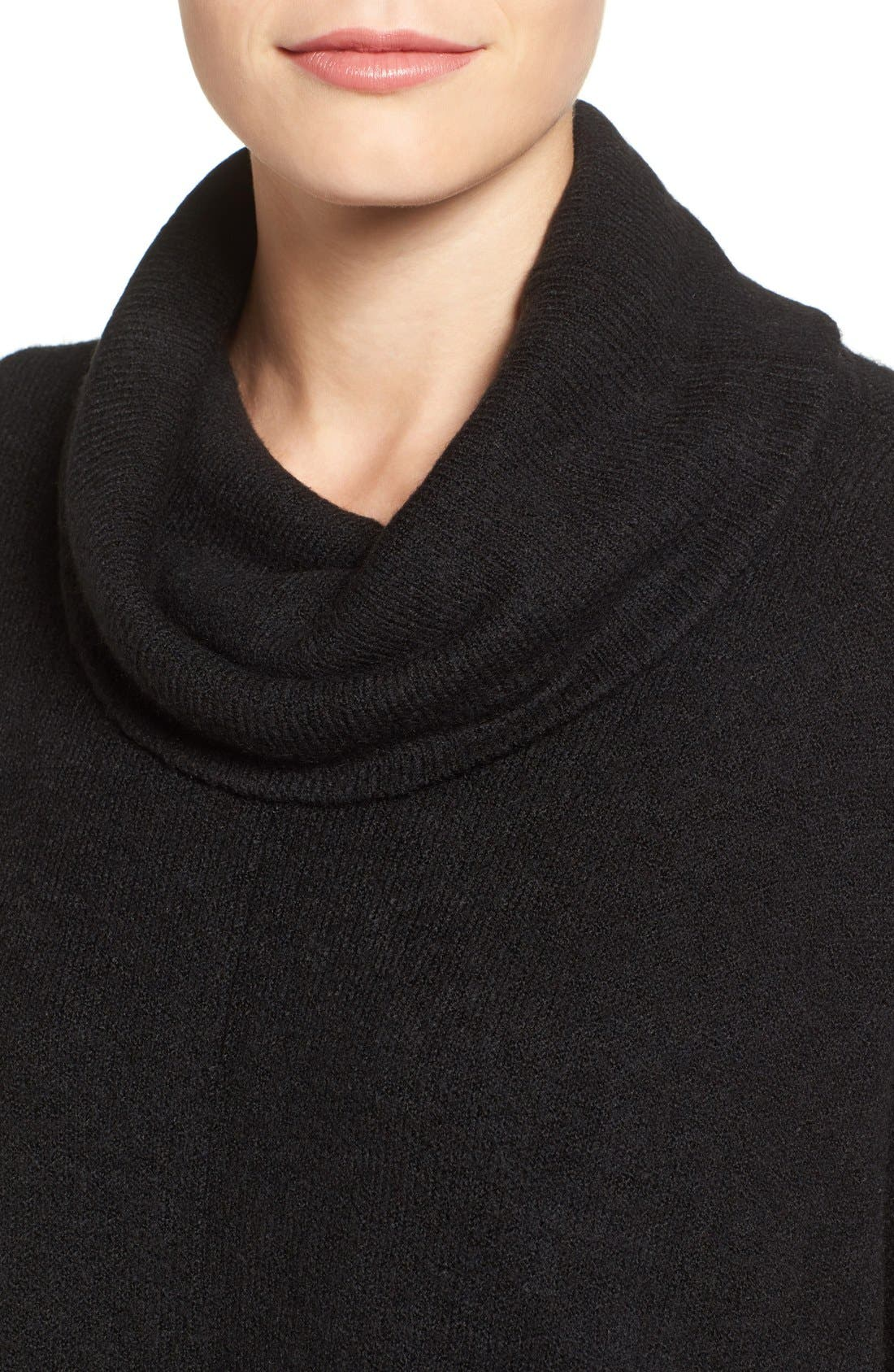 Cowl Neck Sweater Poncho,                             Alternate thumbnail 4, color,                             Black
