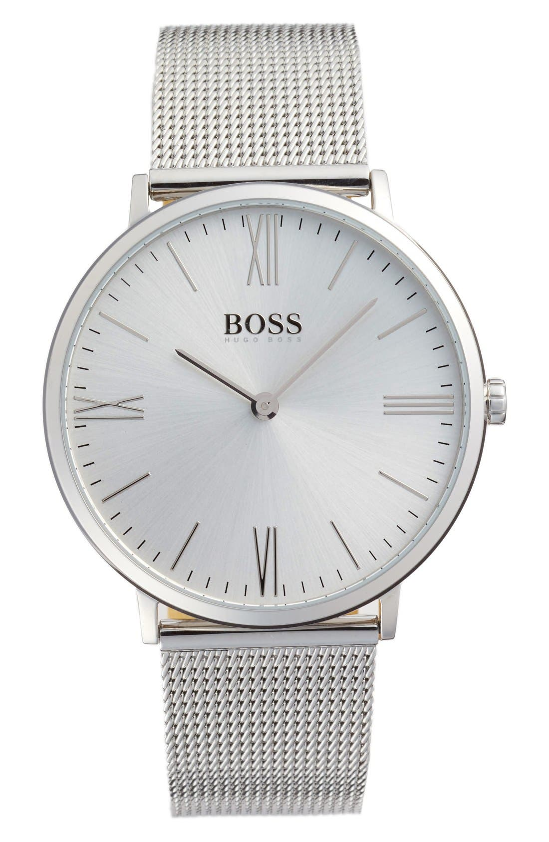 Alternate Image 1 Selected - BOSS Slim Jackson Mesh Strap Watch, 40mm
