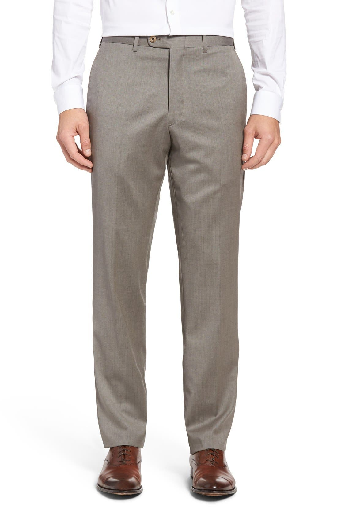 Alternate Image 1 Selected - JB Britches Flat Front Worsted Wool Trousers