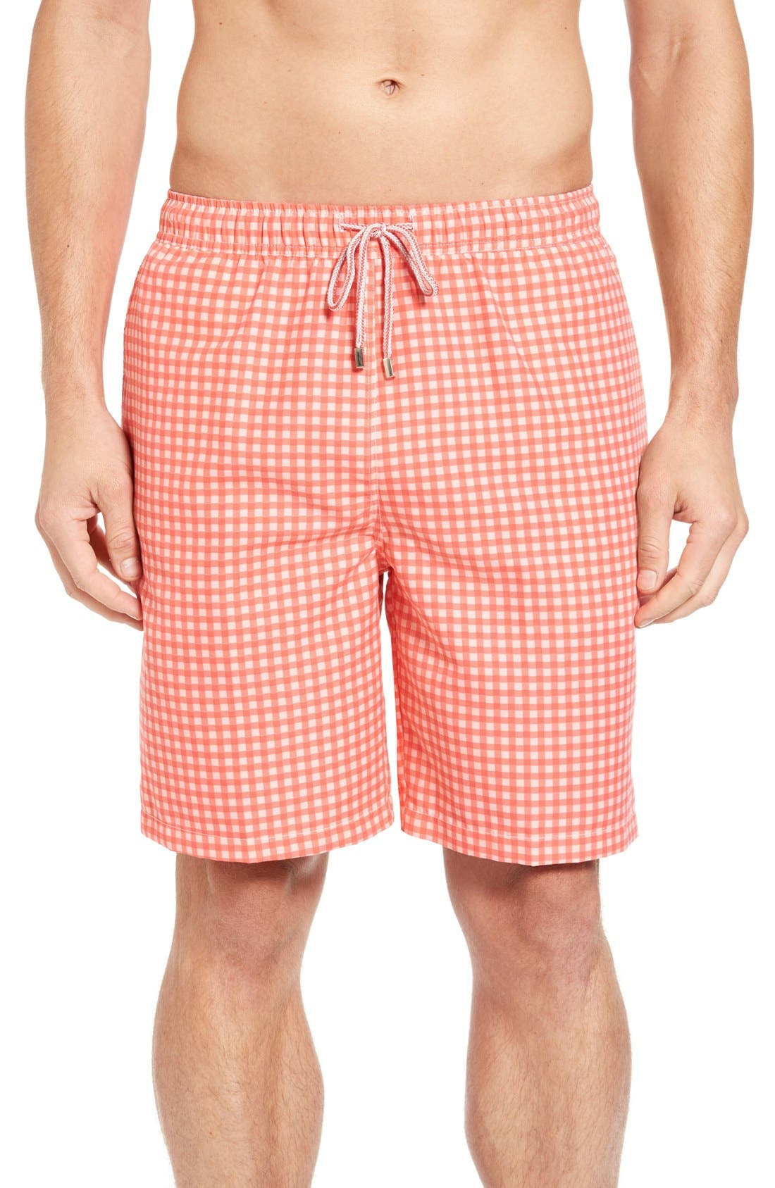 Main Image - Peter Millar Gingham Swim Trunks