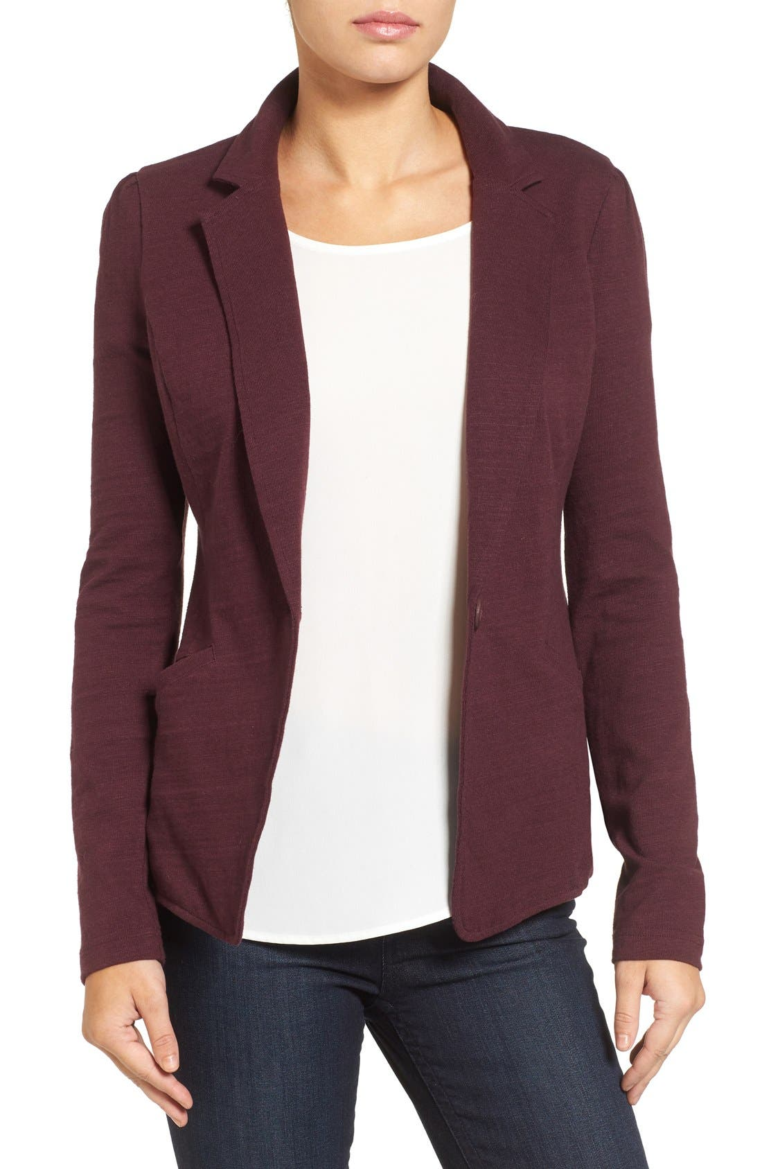 Caslon® Knit One-Button Blazer (Petite)