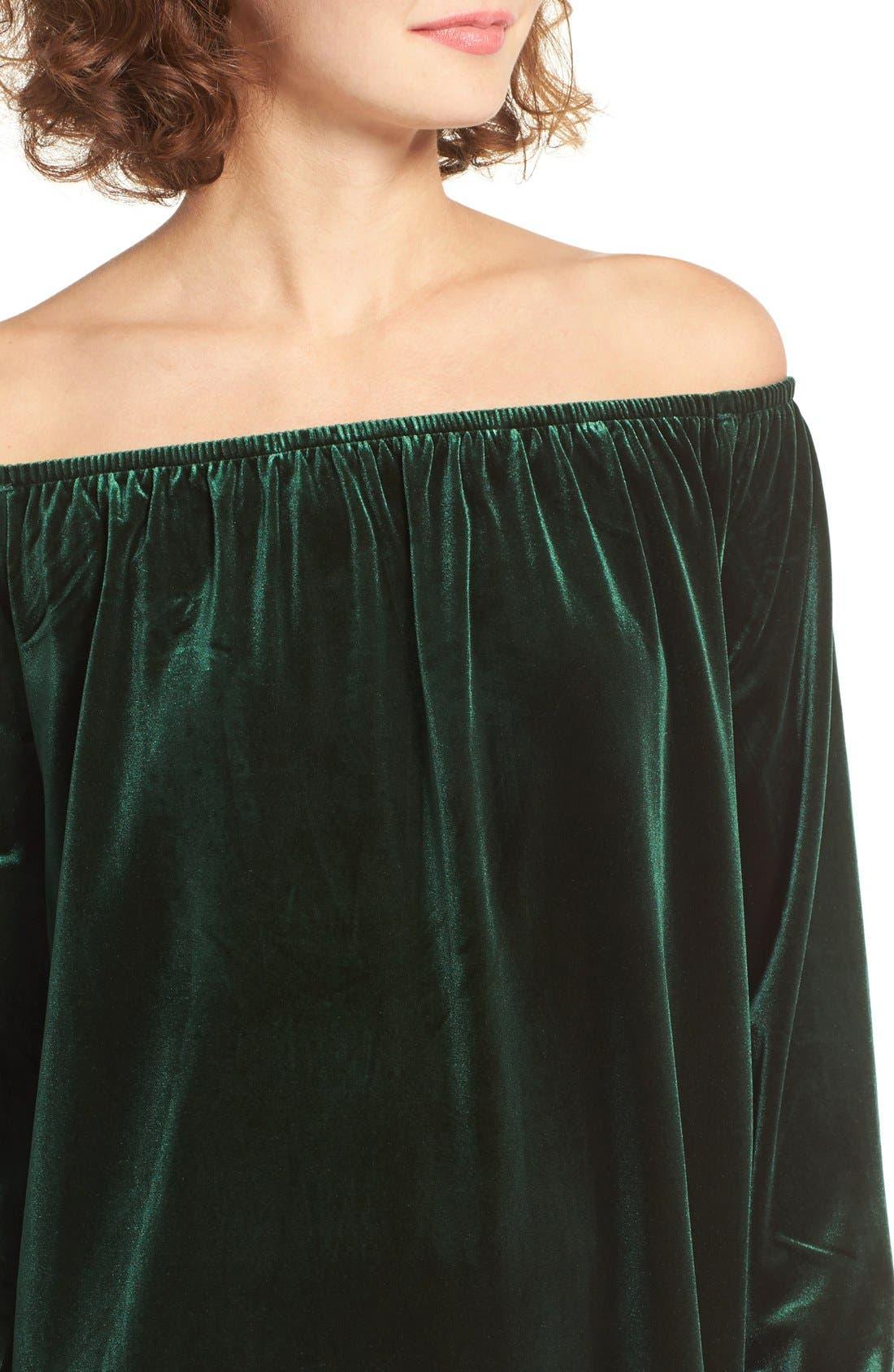 Alternate Image 4  - One Clothing Off the Shoulder Velvet Swing Dress