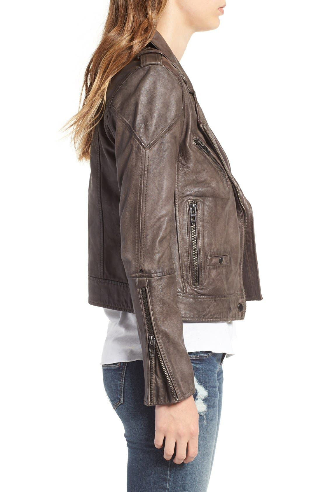 Alternate Image 3  - BLANKNYC Genuine Leather Moto Jacket