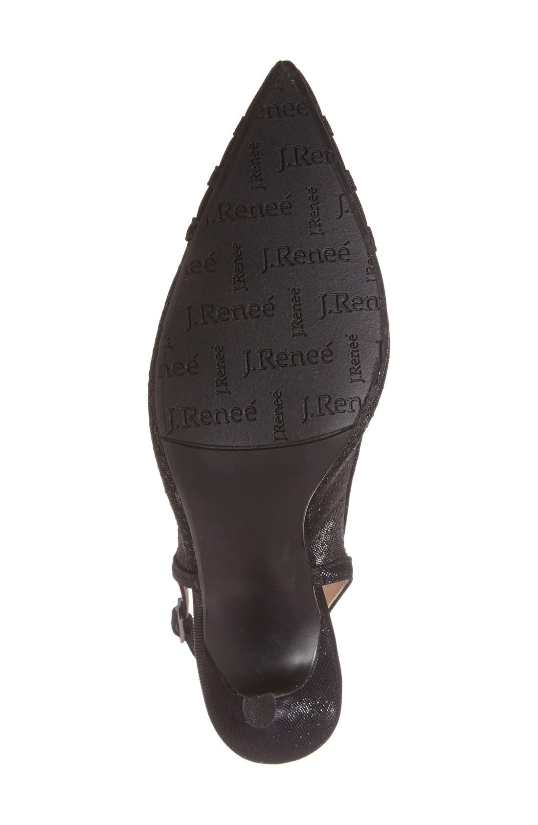 J. Renee Savina Pointed Toe Slingback Pump,                             Alternate thumbnail 4, color,                             Black Glitter