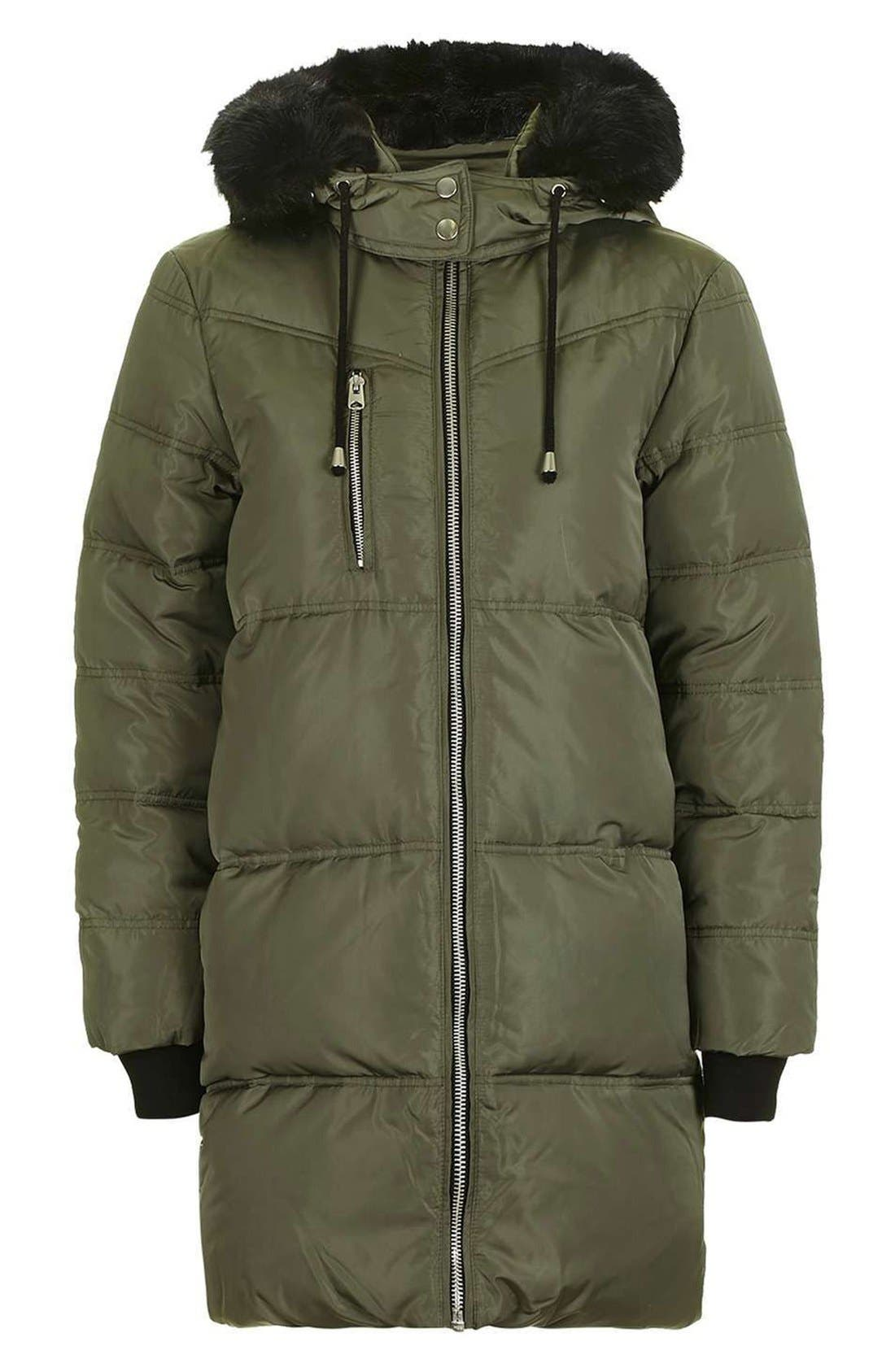 Jasper Faux Fur Trim Puffer Parka,                             Alternate thumbnail 5, color,                             Olive