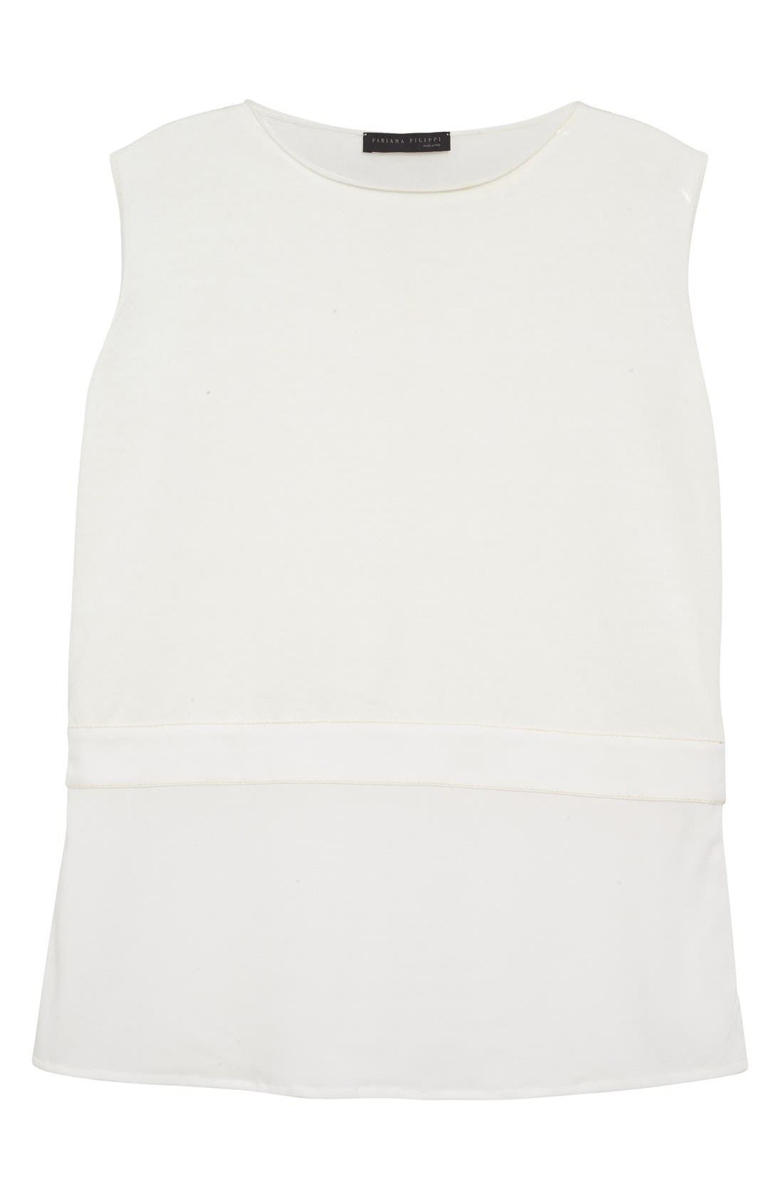 Silk Hem Cotton Tank,                             Alternate thumbnail 4, color,                             Ivory