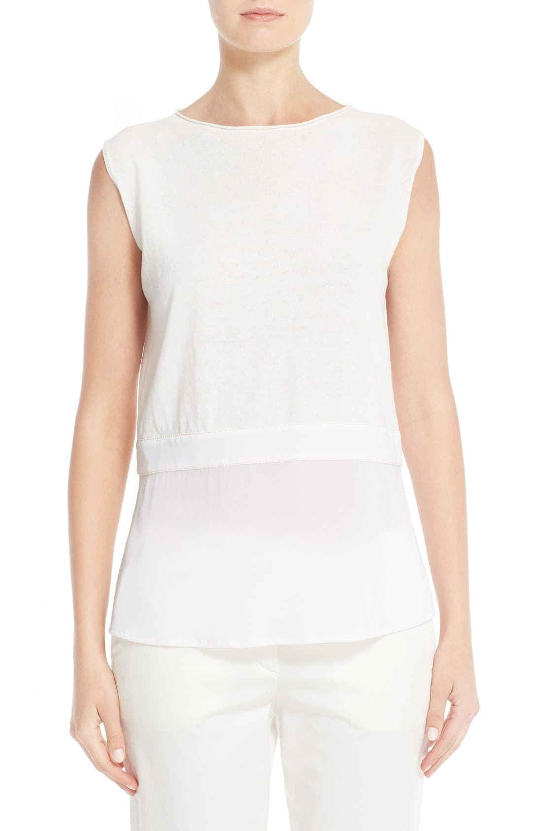 Fabiana Filippi Silk Hem Cotton Tank